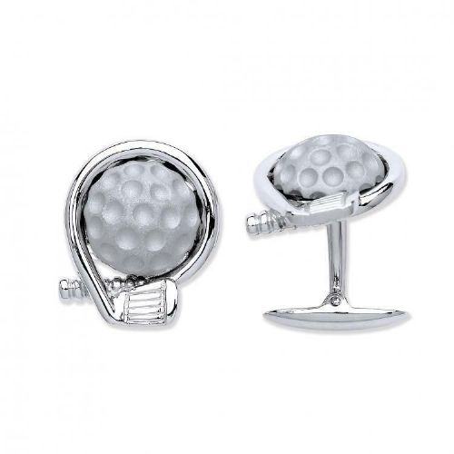 Golf Cufflinks Club and Ball Solid Sterling Silver